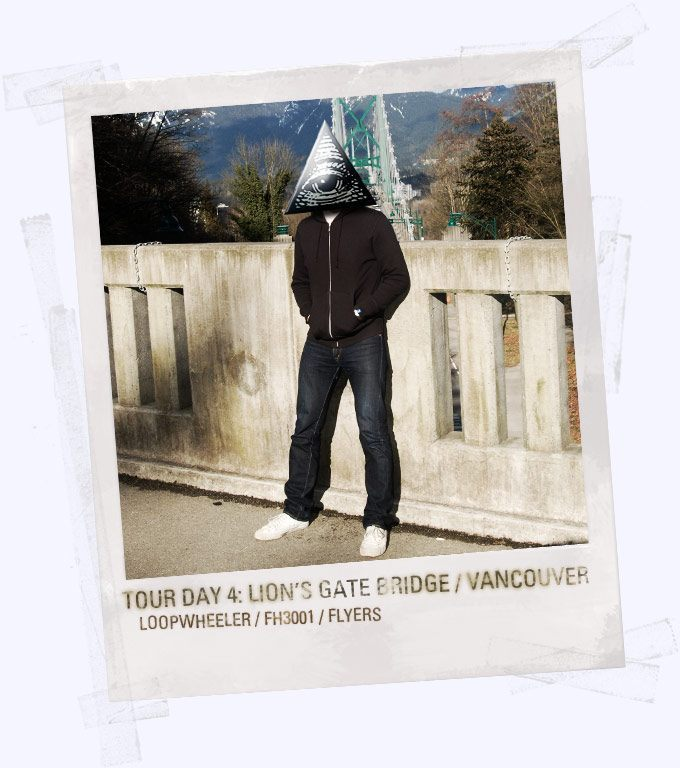 SuperFuture user Ordo wearing the World Tour jeans in Vancouver