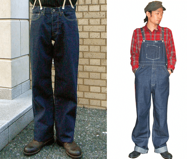 Dry Bones Knee Work Trousers, Cinch Buckle Denim Overalls