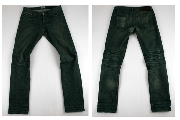 Front and Back Flat - Naked & Famous WeirdGuy Green Selvedge