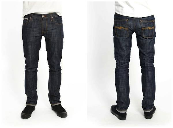Front and back view of Nudie Organic Pima Cotton Grim Tim Selvedge Denim Jean