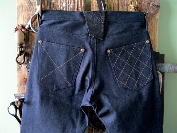 Brown, Deim Atlantique Indigo Raw Denim Jeans