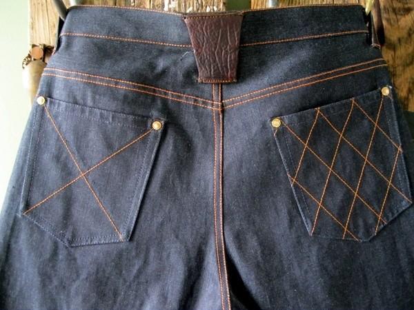 Brown, Deim Hickory Raw Denim Jeans