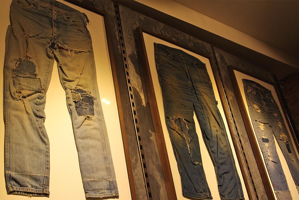 tenue-de-nimes-haarlemmerstraat-store-opening-raw-denim-jeans-on-wall
