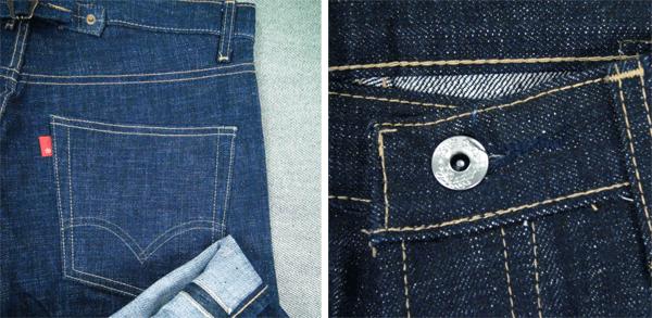 No name pants, 2007, similar to the original Levis 201 Big E below (LVC Reproduction 2001)