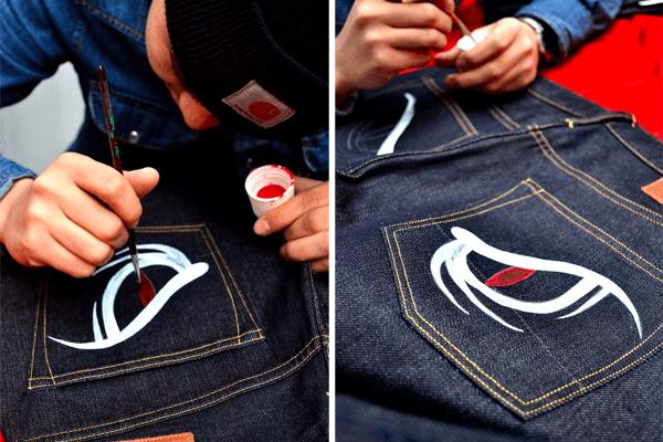 Making Of - EVISU Snake Eyes Hand-Painted Denim
