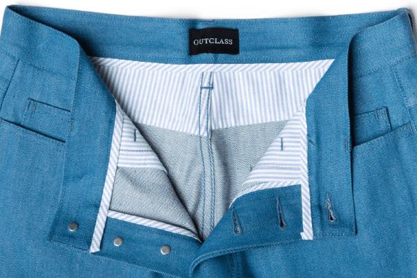 Front Closeup - OUTCLASS Azure 12.5 Oz. Dead-Stock Denim Jeans