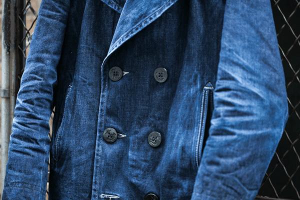 Close-Up After Wear - Schott Perfecto Denim Peacoat