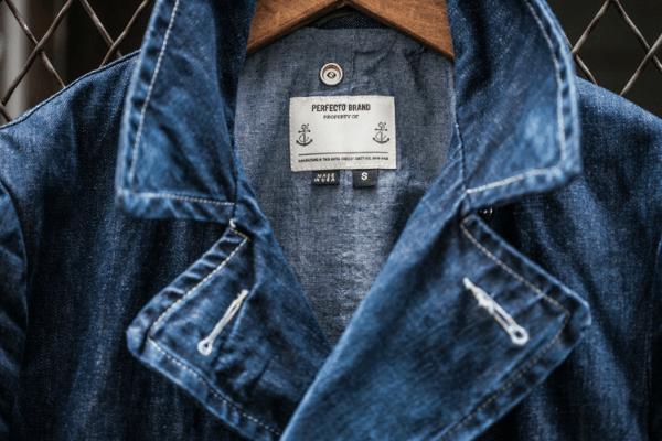 Collar After Wear - Schott Perfecto Denim Peacoat