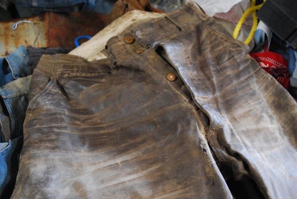 WWI-era waxed duck pants.
