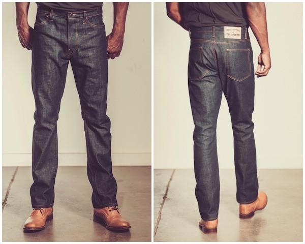 Red Cotton Denim slim straight jeans