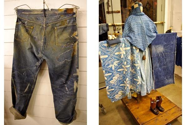 Vintage, inidigo denim; traditional indigo wares