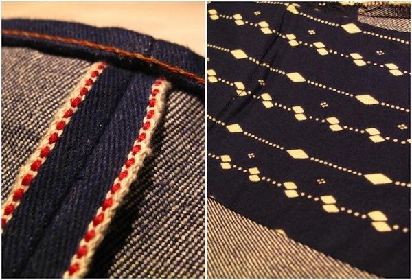 Selvedge line and batik pocket bags
