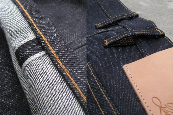 Red-line chainstitch hem, leather patch - 3sixteen 17 Oz. 130x Heavyweight Selvedge Denim Series