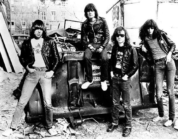 Punk rock pioneers, The Ramones in their signature leather jackets and denim. A timeless American combination.