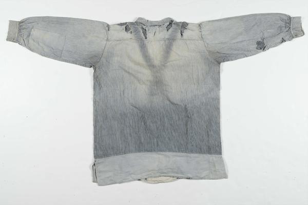Back - Hickory Stripe Shirt with Chambray Trim Circa 1940