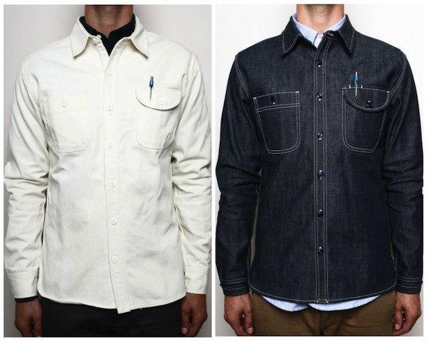 Natural Herringbone Workshirt, Grey Caste Selvedge Workshirt
