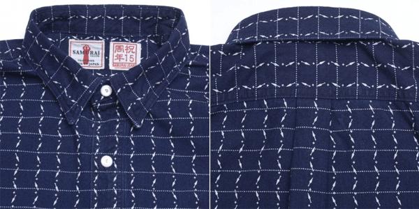 Closeup - Samurai Jeans Indigo Dyed Kunai Wabash Pinstripe Shirt