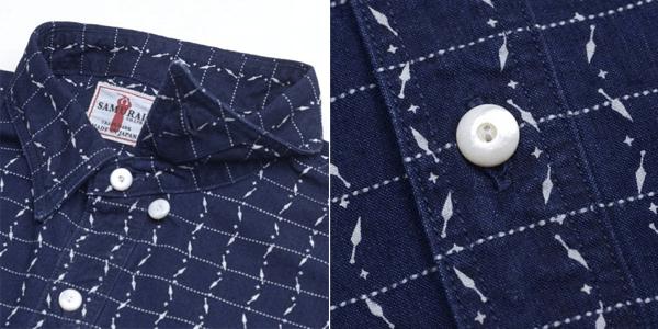 Detailing - Samurai Jeans Indigo Dyed Kunai Wabash Pinstripe Shirt