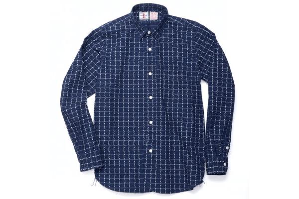 Samurai Jeans Indigo Dyed Kunai Wabash Pinstripe Shirt