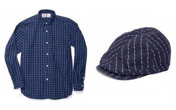 Samurai-Jeans-Indigo-Dyed-Kunai-Wabash-Pinstripe-Shirt-And-Hunting-Cap