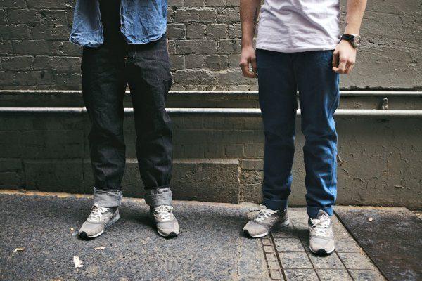 Left: Dark indigo jeans; Right: light blue version, utilizing Indigo Woad Twill.
