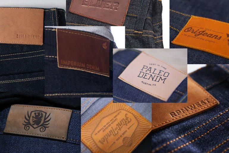 denim leather patch mosaic