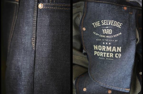 the selvedge yard x norman porter chambray pocket bags