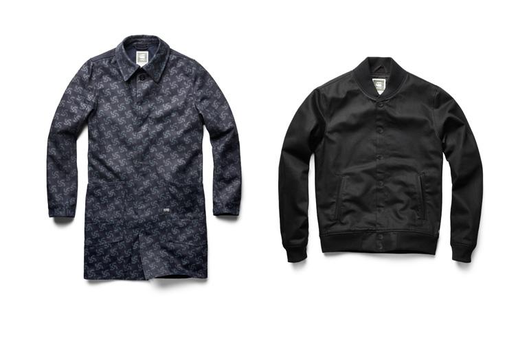 Printed Indigo A- Crotch Trench Coat and Raw Black Bomber Jacket
