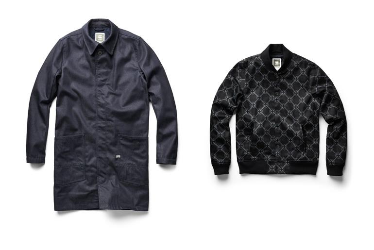 Raw Indigo A- Crotch Trench Coat and Printed Black Bomber Jacket
