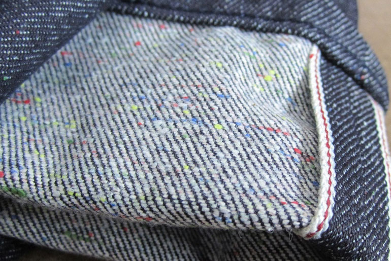 Weft on a 3x1 pair of Naked & Famous denim.