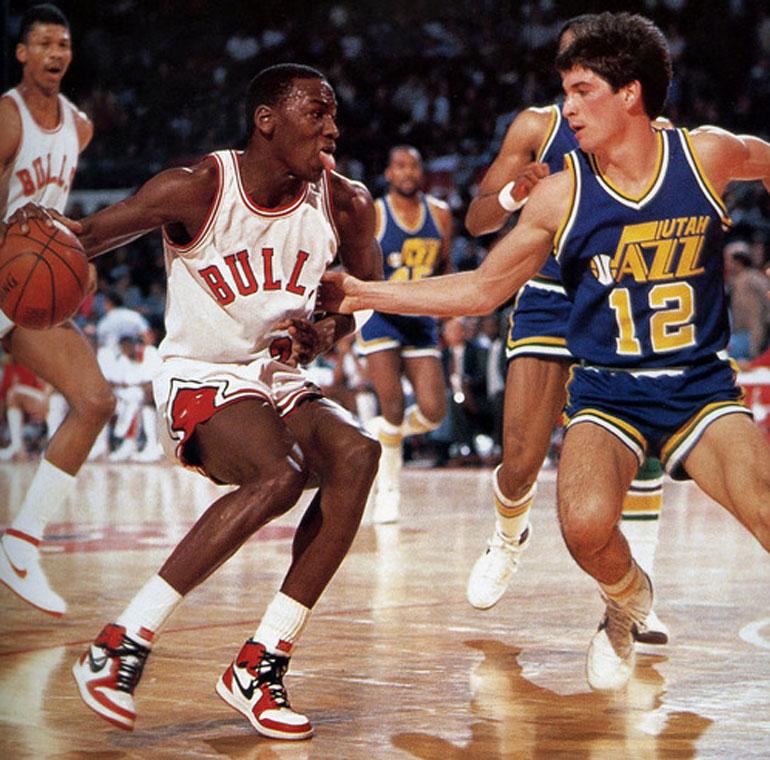 Michael Jordan wearing Jordans in 1984