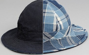 OrSlow-US-Navy-Bucket-Hat,-Reversible-Indigo-Check
