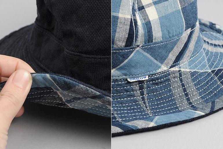 OrSlow-US-Navy-Bucket-Hat,-Reversible-Indigo-Check-Details