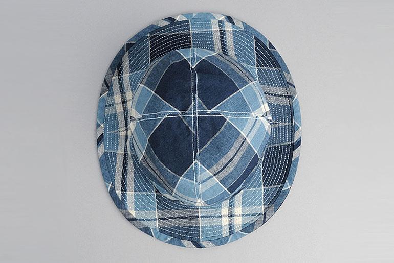 OrSlow-US-Navy-Bucket-Hat,-Reversible-Indigo-Check-Top
