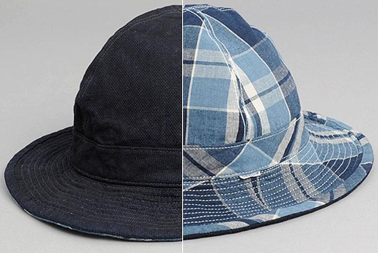 OrSlow-US-Navy-Bucket-Hat,-Reversible-Indigo-Check