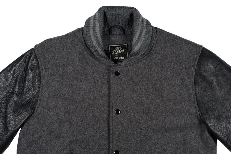Dehen x Self Edge Set-In Leather Varsity Jackets