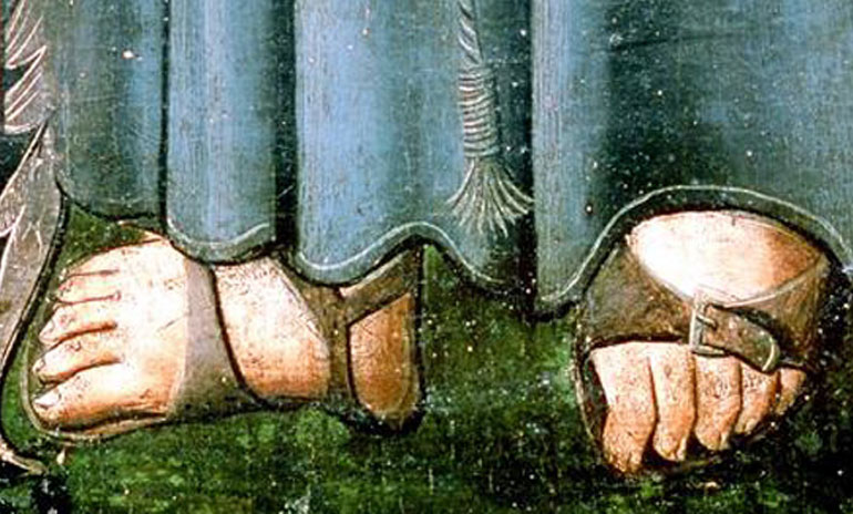 A middle age depiction of monk sandals. Image via: Eden Saga.
