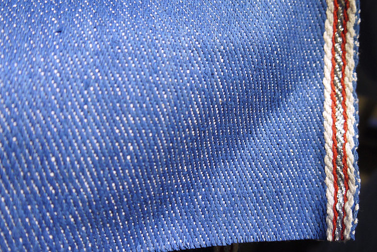 Seven Senses blue handwoven denim with red/silver sari selvedge
