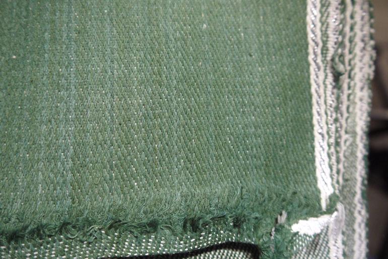 Seven Senses green handwoven denim with white/silver sari selvedge