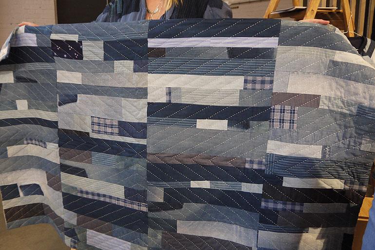 Facing West indigo patchwork quilt