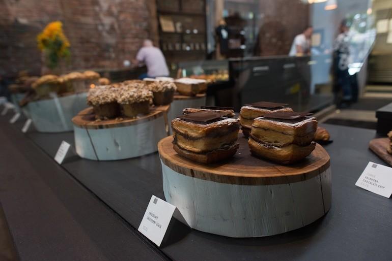 Chocolate stacks and muffins