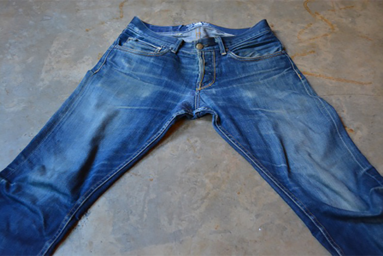 Fade of the Day – Gilded Age Raw Red Selvedge Baxten (4 Years, 9 Months, 2 Washes, 1 Soak)