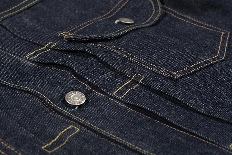 Sugar Cane 1953 Type II Unsanforized Raw Denim Jacket Fit Front Pockets Pleats