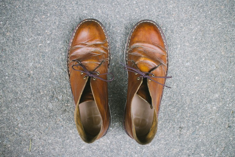From above, the Clarks Desert Boots after 4 years, 6 months and resoling.