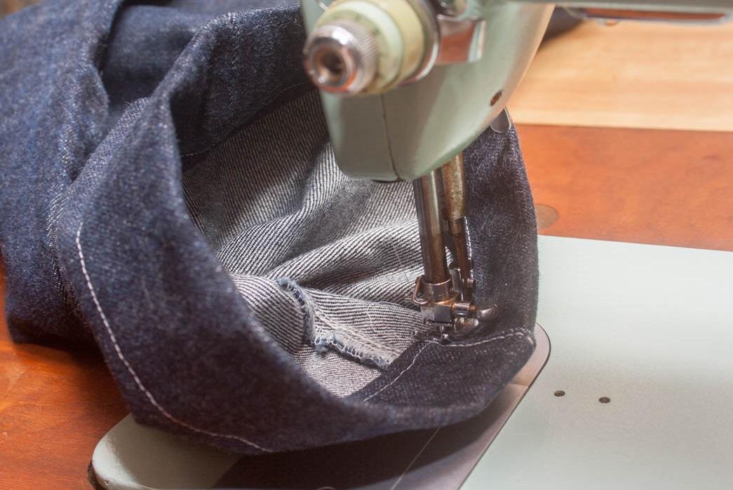 Finishing the seam.