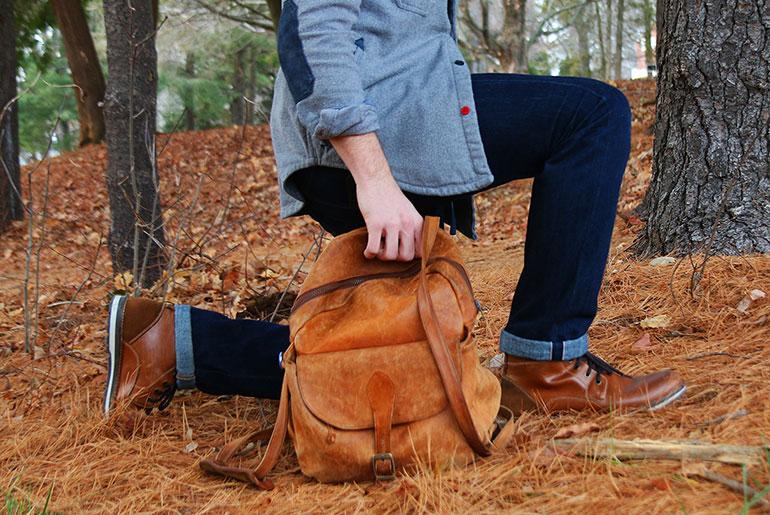 Vintage Leather Backpack - Body Shot