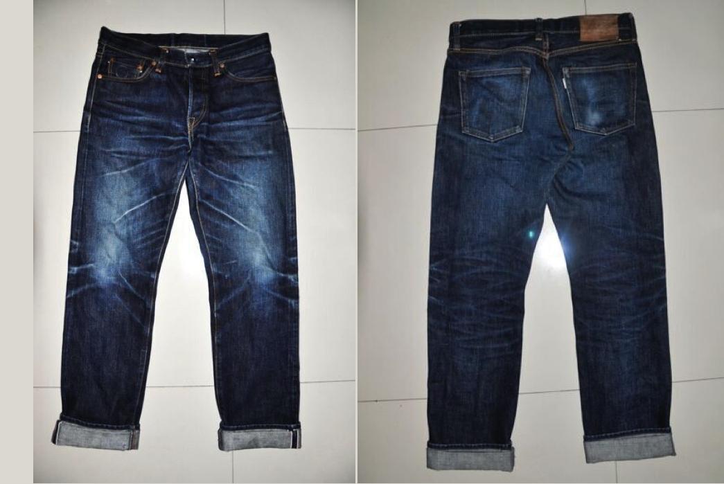 Akaime A710XX Raw Denim Jeans front back