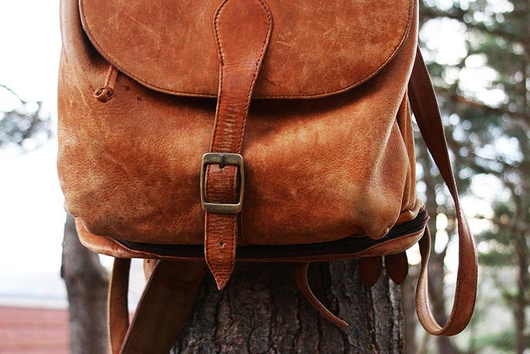 Vintage Leather Backpack Buckle Detail