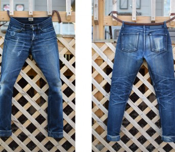 Fade of the Day - Naked & Famous 17 oz. Herringbone Indigo/Indigo (13 Months, 1 Wash, 2 Soaks) Full front back