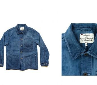 Knickerbocker Mfg x Manready Mercantile Indigo Chore Coat Front Fold